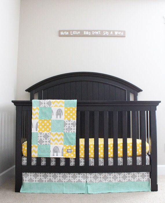 Custom Crib Bedding Yellow Mint And Grey Baby By Gigglesixbaby On Etsy Https