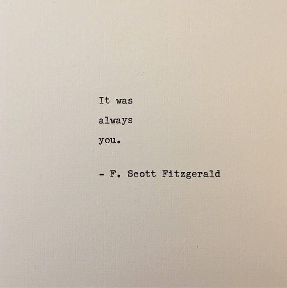F. Scott Fitzgerald quote typed on typewriter - unique gift