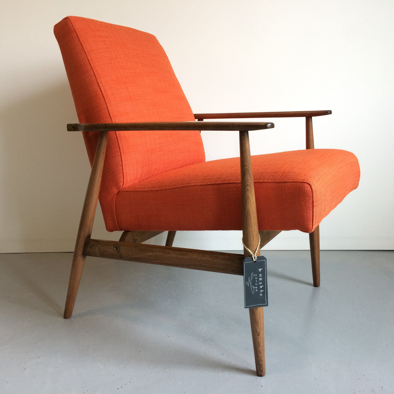 Mid Century Modern Armchair Lounge Orange Chair Handmade
