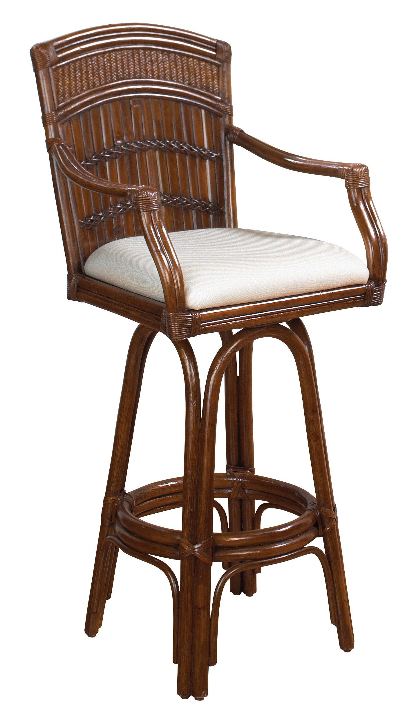 Furniture rattan bar stool with brown varnished bamboo back and white upholstered seat bamboo bar stools