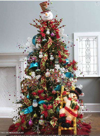 Http Www Trendytree Com Images Cms 2012 Snowdoodles 2 550x550 Jpg Christmas Tree Decorating Ideas Pictures Snowman Christmas Tree Christmas Tree Themes