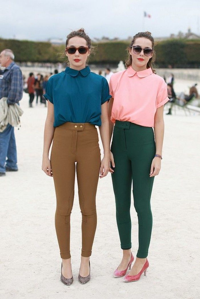 tenue chic rétro, top à col claudine et slim, chemisette femme rétro de couleurs différentes