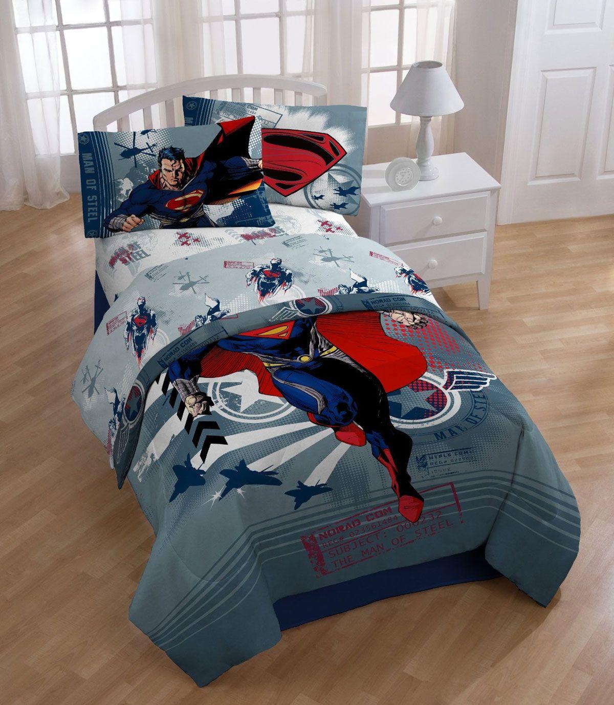 Superman Steel Man Twin Bed Sheet Set Pc Kids Super Hero - Circo comic bedding set