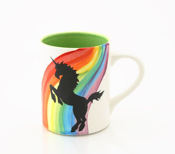 Rainbow Unicorn Mug by LennyMud on Etsy, $18.00