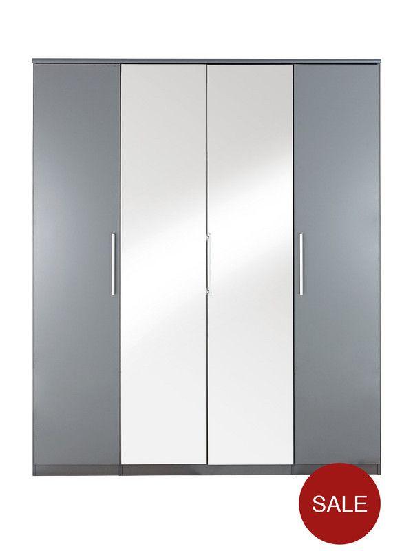 kellerregal ikea prague high gloss 4 door mirrored wardrobe verycouk ivar