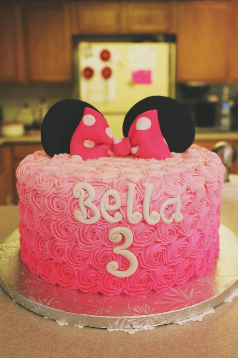 Fine My Daughters Bday Cake Minniemouse Ombre Rosette Pink Funny Birthday Cards Online Fluifree Goldxyz