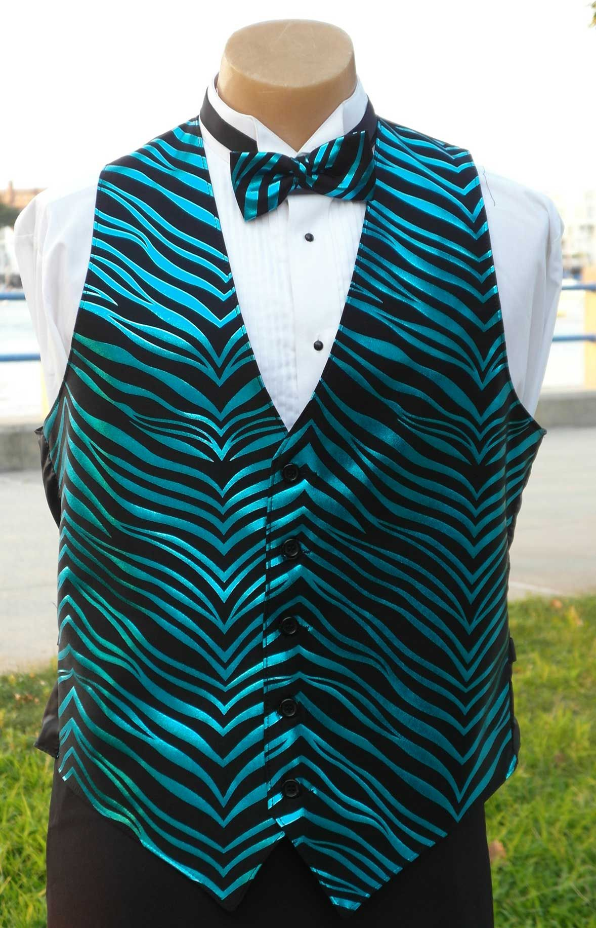 zebra print and turquoise vest for men www.sixstaruniforms.com ...