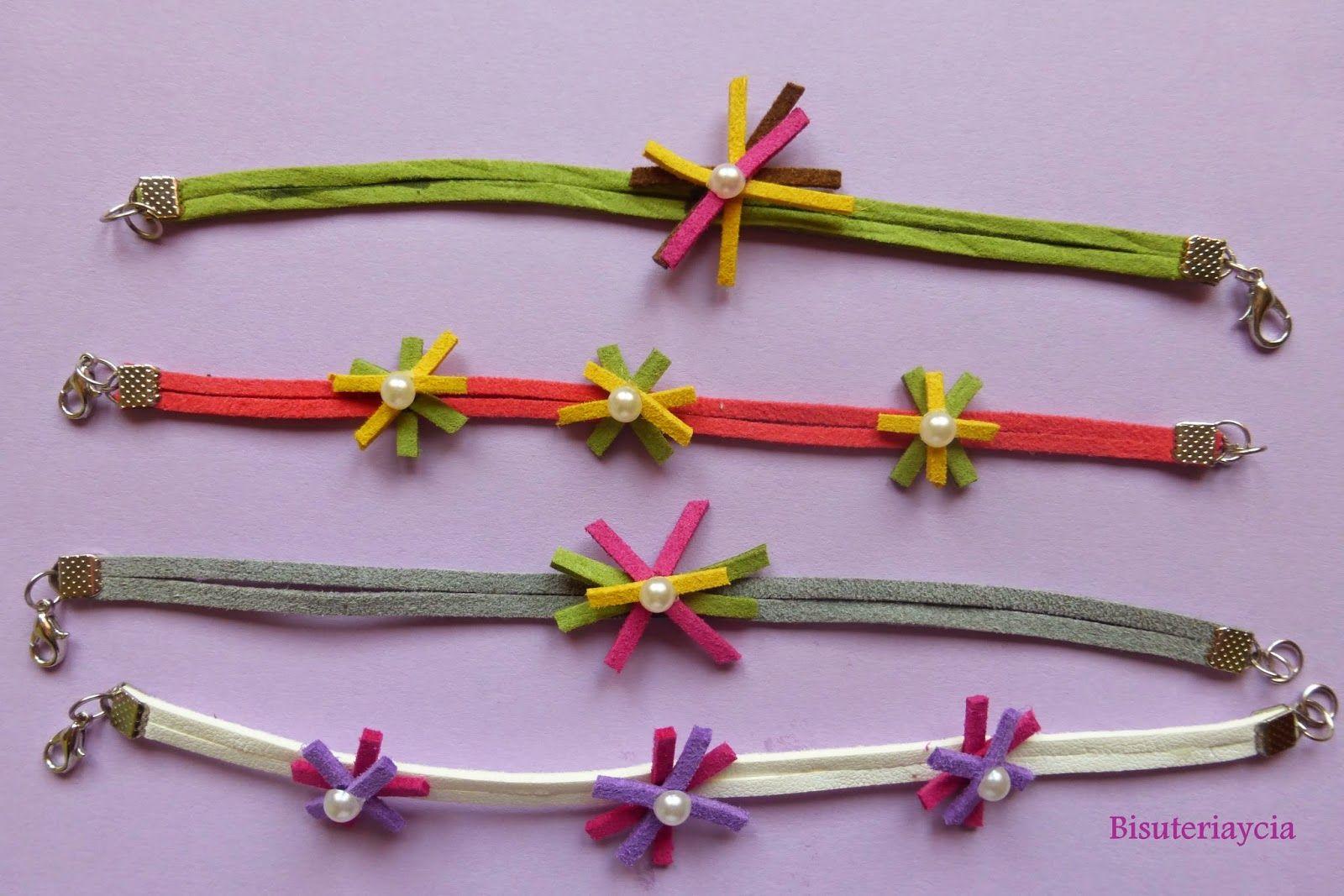 Pulseras con flores de antelina