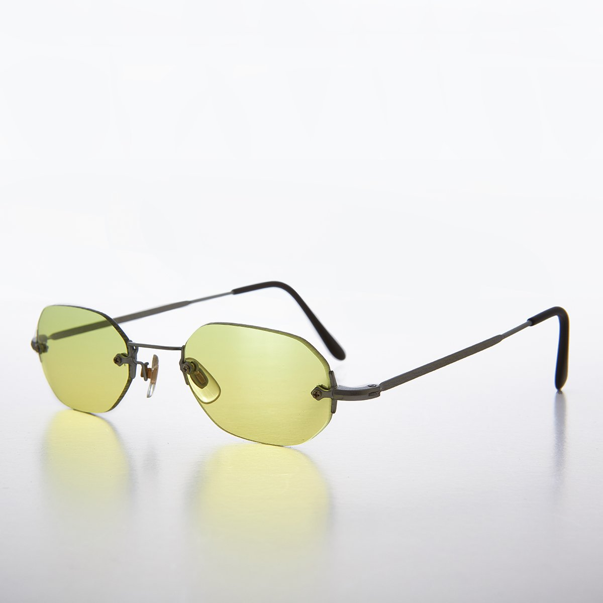 6a04735323 90s Colored Lens Rimless Octagon Vintage Sunglass - Cleo