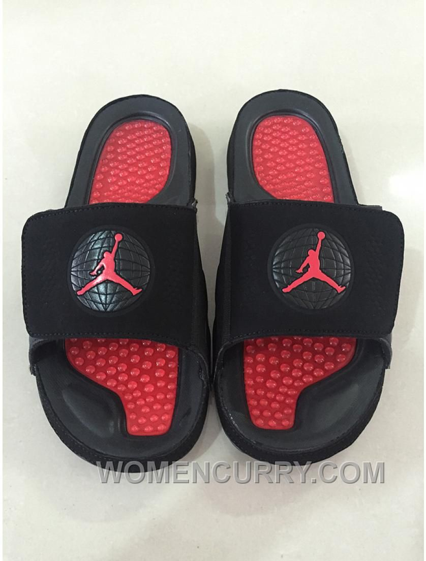 "318b4d66b4b7 Mens Jordan Hydro 9 Slide Sandals ""Bred"" Black Red Cheap To Buy ..."