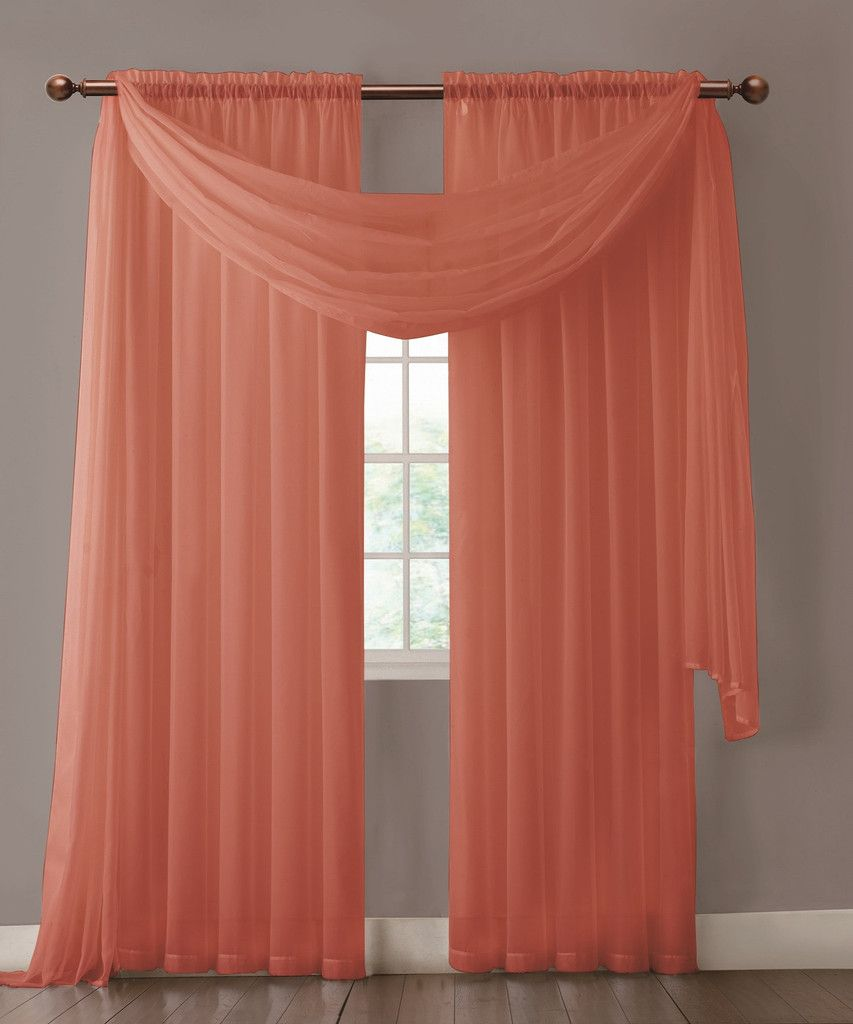 Warm Home Designs Pair Of Orange Rust Sheer Curtains Or Scarf Green Sheer Curtains Curtains Turquoise Room #rust #curtains #for #living #room