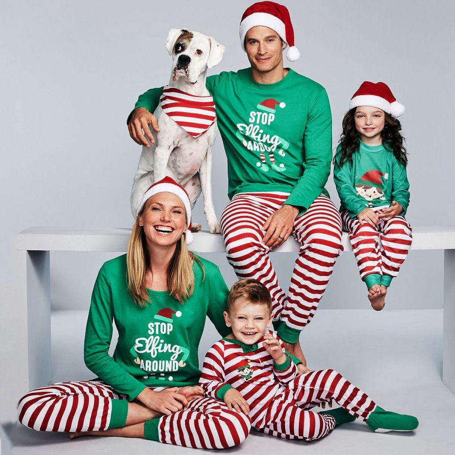 4eafa16b872 Cartoon Pattern Striped Family Christmas Pajamas - popreal.com ...