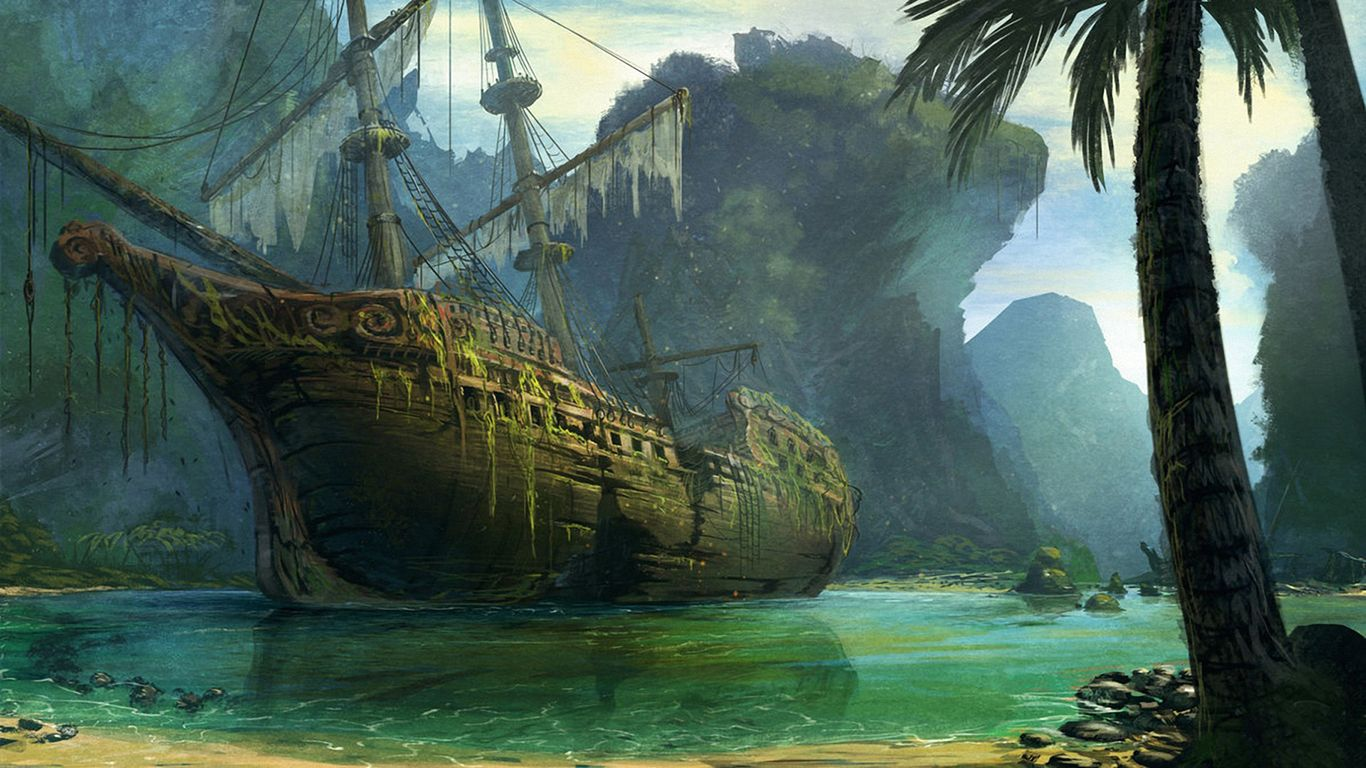 Fantasy ship cliff jolly roger pirate ship rock lightning wallpaper - 1366x768 Schooner Ship Sail Ship Abandon Deserted Cove Beach Tropical Drawing Shipwreck Overgrowth Hd Wallpaper