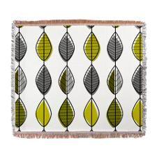 Mid-Century Modern Leaf Pattern Woven Blanket