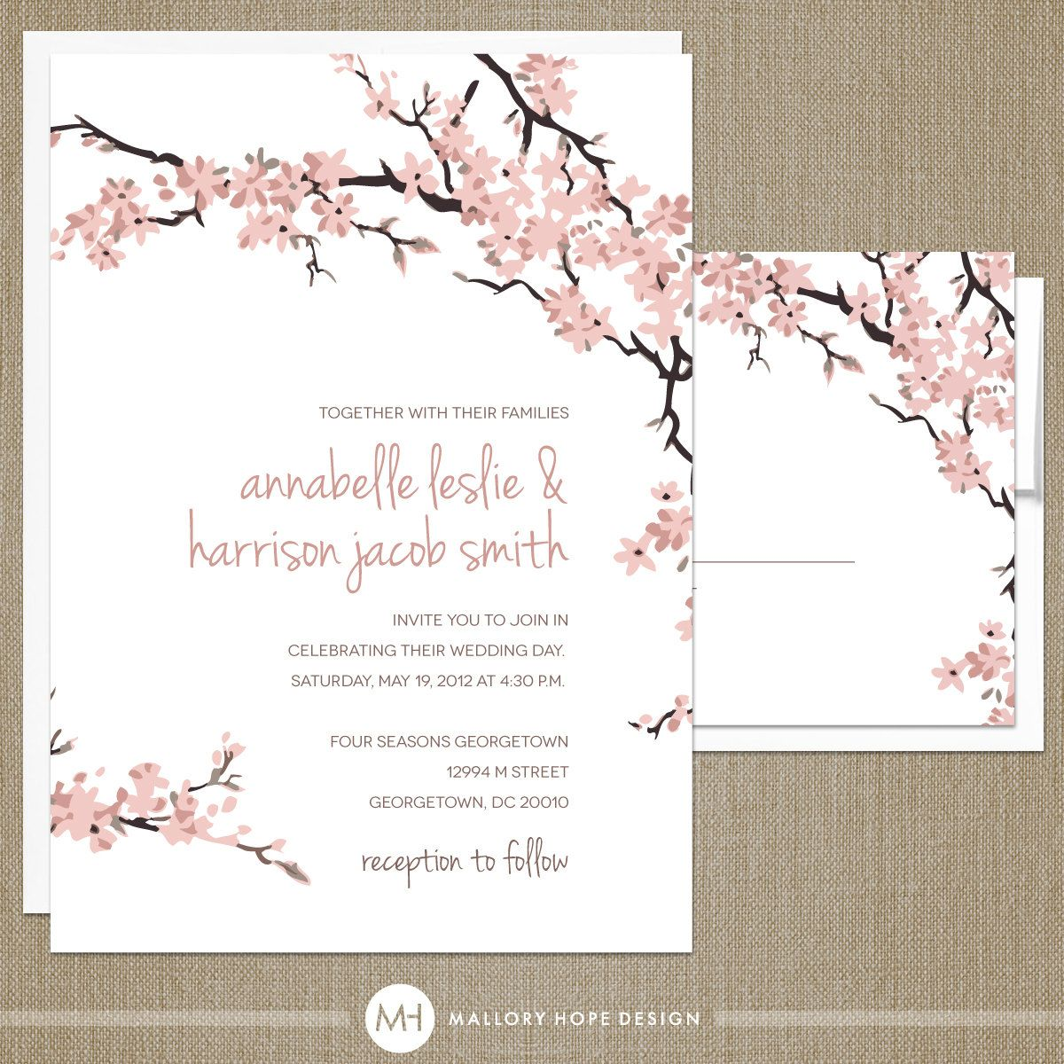 cherry blossoms wedding invitation rsvp set floral wedding invitation flower wedding invite. Black Bedroom Furniture Sets. Home Design Ideas