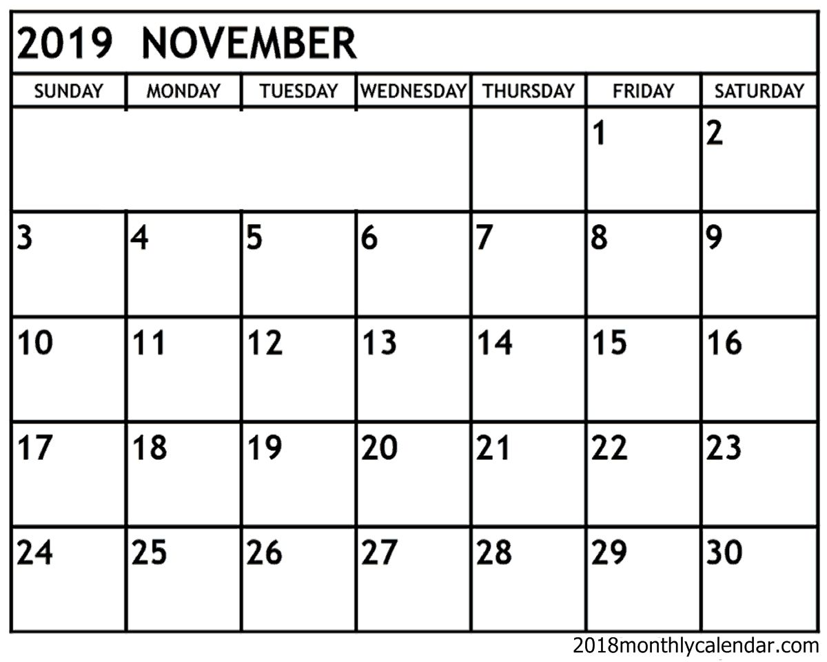 Calendar Of November 2019 Monthly Printable Calendar Printables Calendar Template November Calendar