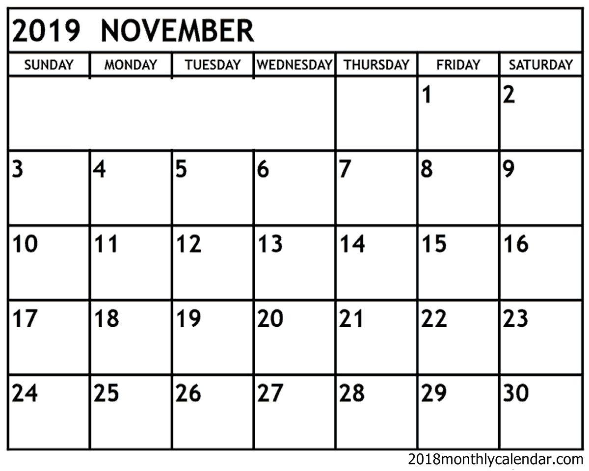 Calendar Of November 2019 Monthly Printable Calendar Printables Calendar Template November Calendar