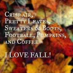 I Love Fall Love Football Quote Coffee Autumn Boots Fall List Pumpkin  Sweaters Autumn Quotes