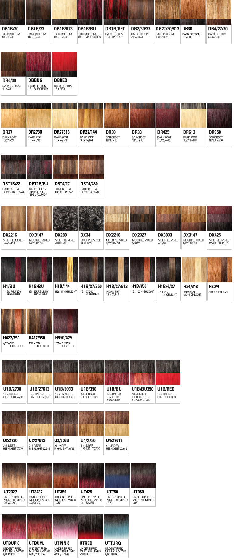 Httpoutrecolor chart wigs weaves extensions explore outres range of rich vibrant hair colors from pastels to ombres to highlights nvjuhfo Image collections