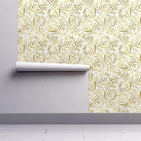 Golden Leaves Wallpaper Gold Leaves By Crystal Walen Jungle Leaves Custom Printed Removable Self Adhesive Wallpaper Roll By Spoonflower Leaf Wallpaper Wallpaper Spoonflower Wallpaper