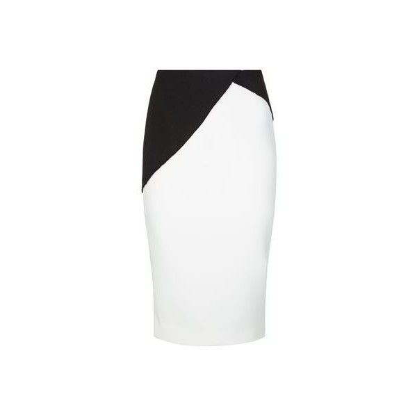 Victoria Beckham Patchwork Bicolour Pencil Skirt (€1.670) ❤ liked on Polyvore featuring skirts, knee length pencil skirt, white skirt, pencil skirt, victoria beckham and patchwork skirt