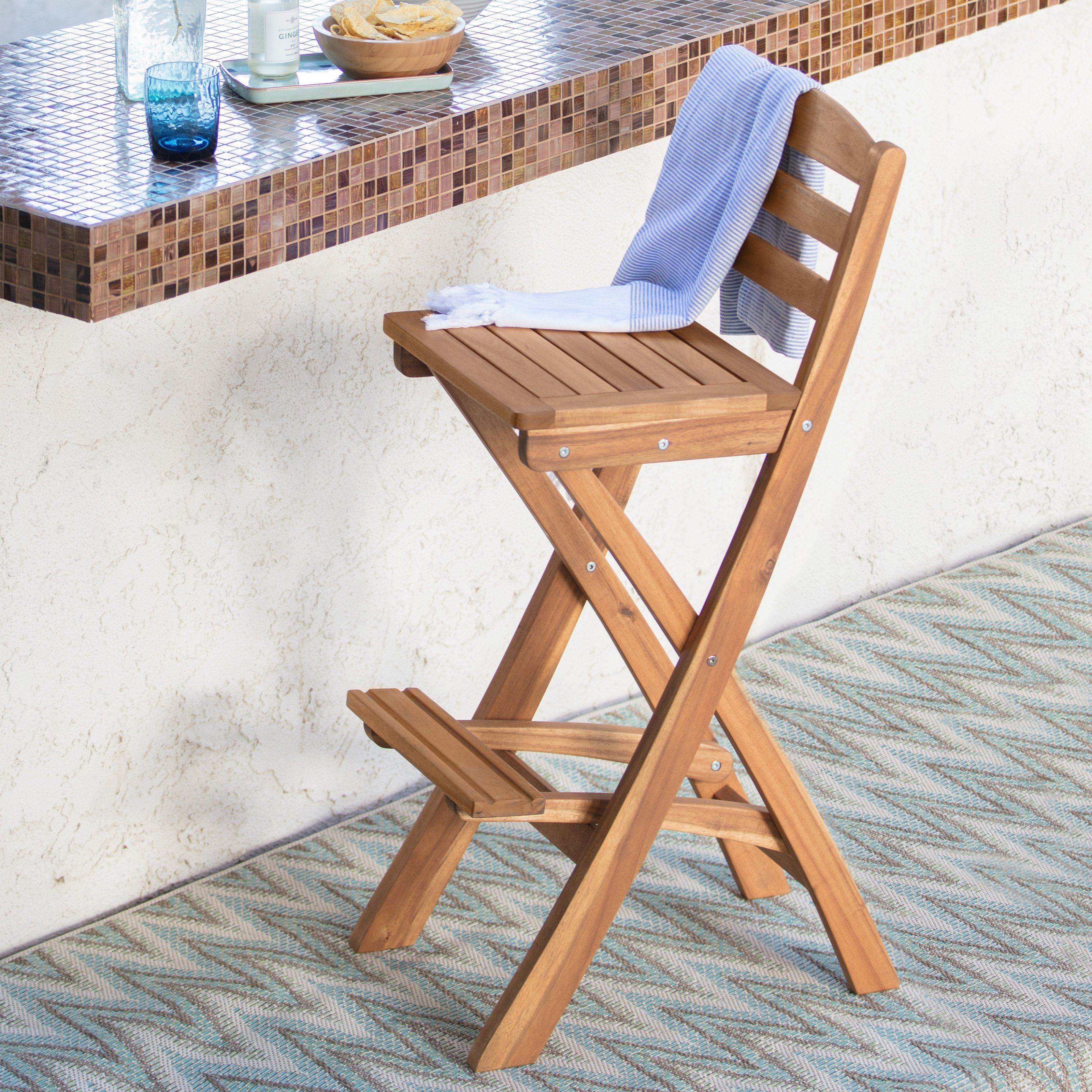 Coral Coast Bali Foldable Wood Outdoor Barstool With Images