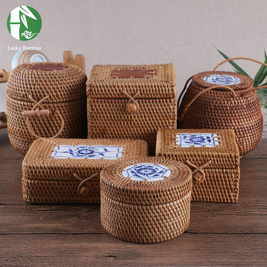 Rattan storage box with lid square and round handwoven jewelry