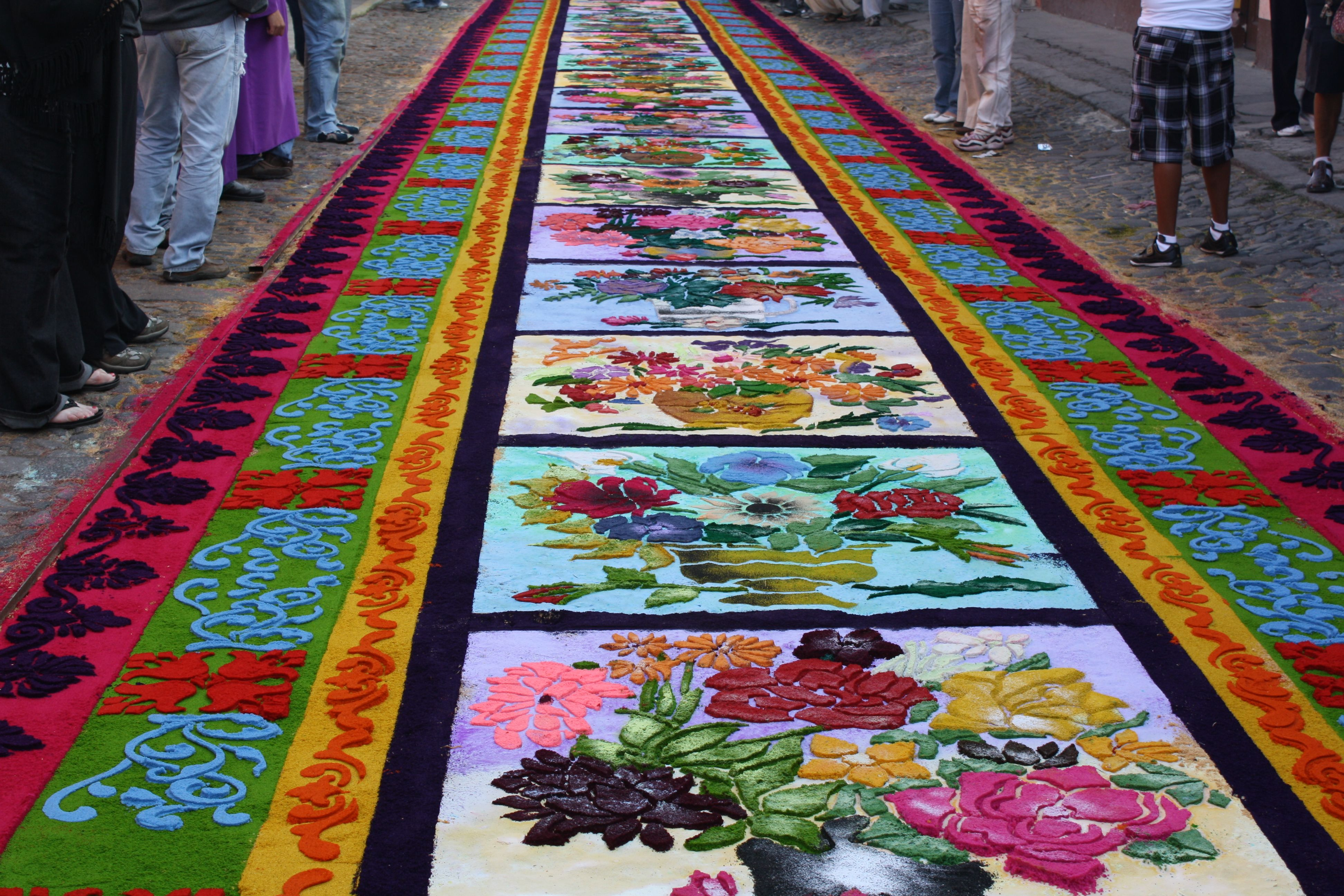 Sawdust carpets dyed flowers carpet colorful flowers