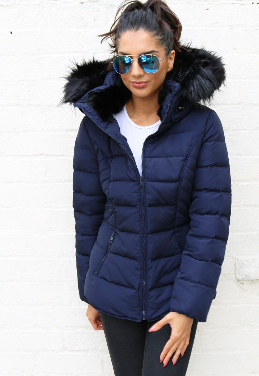 Quilted Padded Short Hooded Puffer Anorak Coat with Fur