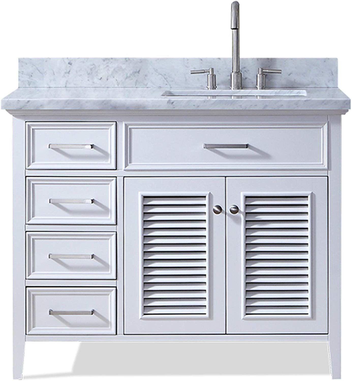 Ariel Kensington D043s R Vo Wht 43 Inch Right Offset Single Rectangular Sink White Bathroom Vanity Cabinet With Carrara White Marble Countertop White Vanity Bathroom Beautiful Bathroom Vanity Bathroom Vanity Base [ 1500 x 1385 Pixel ]