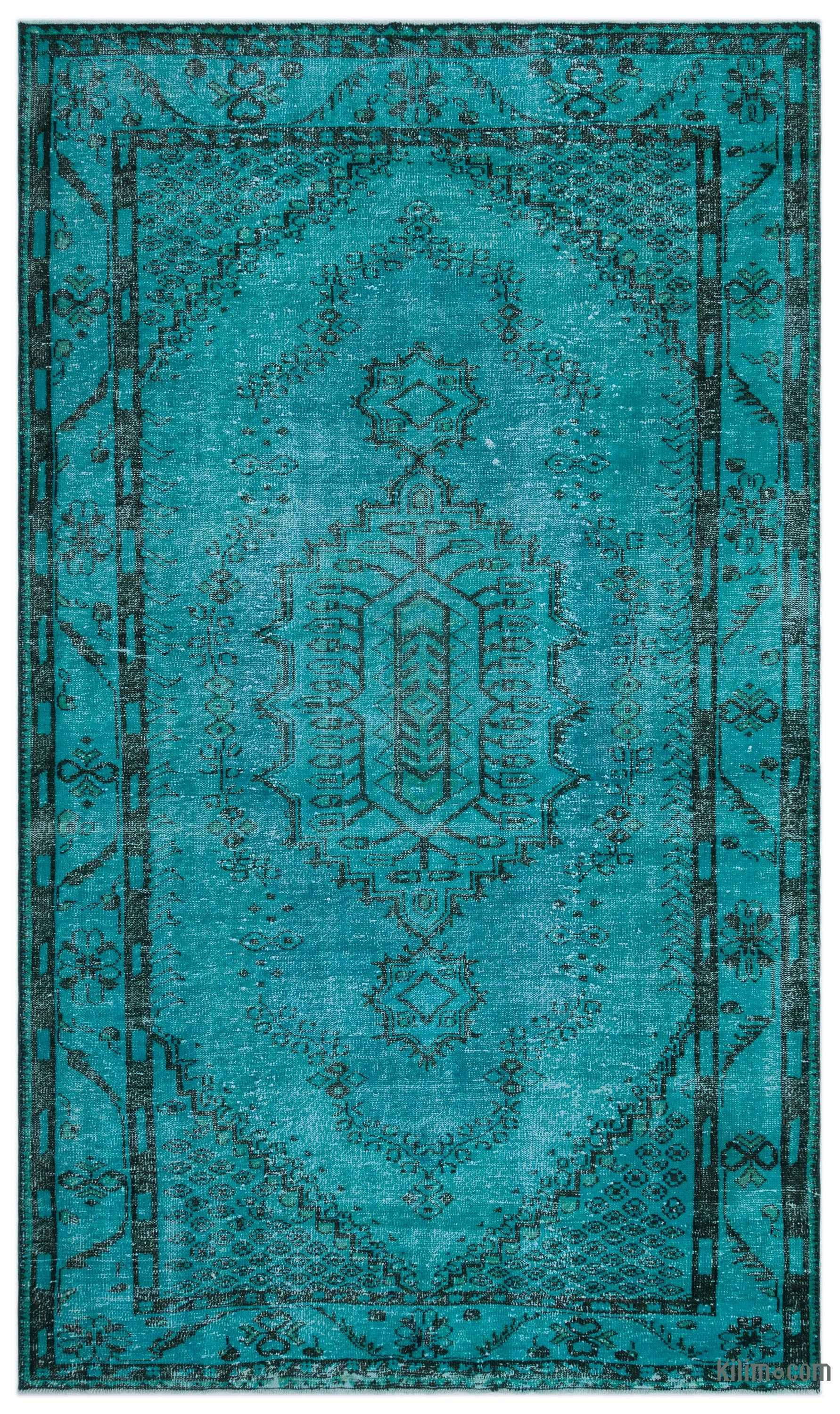 Turquoise Over Dyed Turkish Vintage Rug 6 X 10 2 72 In X 122