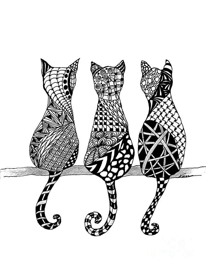 The Cats Meow Drawing Adorable Bohemian Kitties To Color And Try Out Your New New Color Markers Purrrfect Mandala Design Art Zentangle Art Zentangle Drawings,Patty Pan Squash