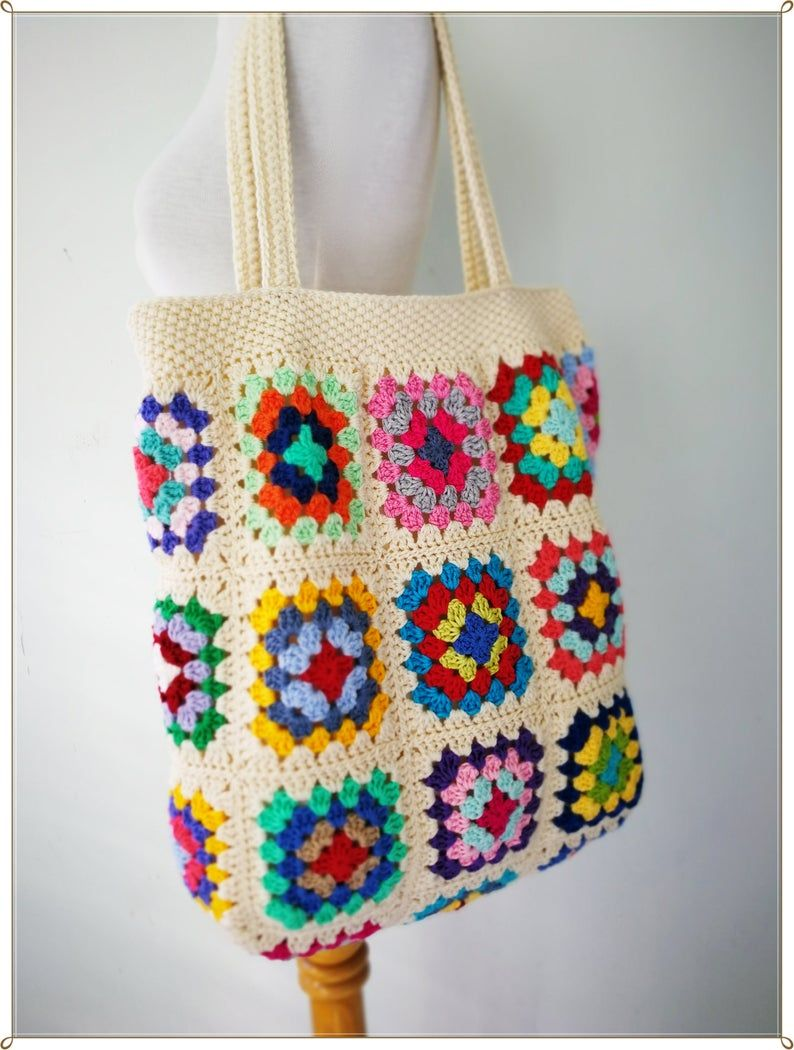 Crochet Bag, Granny Square Bag, Crochet Purse, Crochet tote Bag, Retro Bag, Hippie Bag,Gift for Her, Boho Bag, Vintage Style – Grannie's