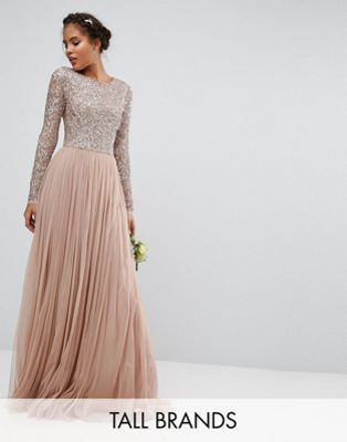 Maya Tall Long Sleeve Sequin Top Maxi Tulle Dress | Vestidos