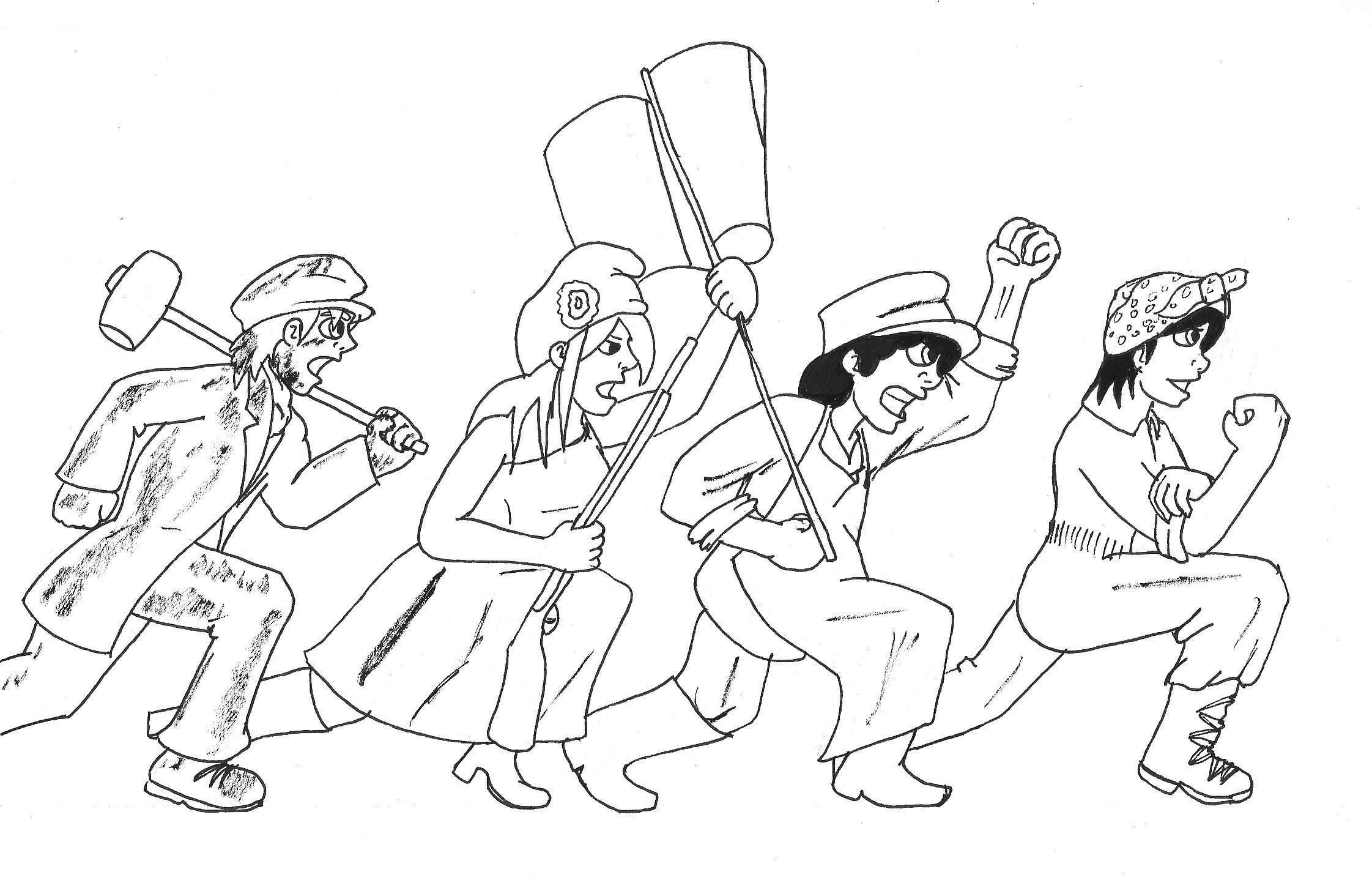 ArtJam julio-agosto 2013 - Mixto V El art jam revolucionario de verano de 2013. Este no lo coloreé porque verano. Lo mismo cualquier día... Las explicaciones en la galería del cómic.  #comic #webcomic #MixtoV #Vane #Vero #Vinsen #Vito #revolución