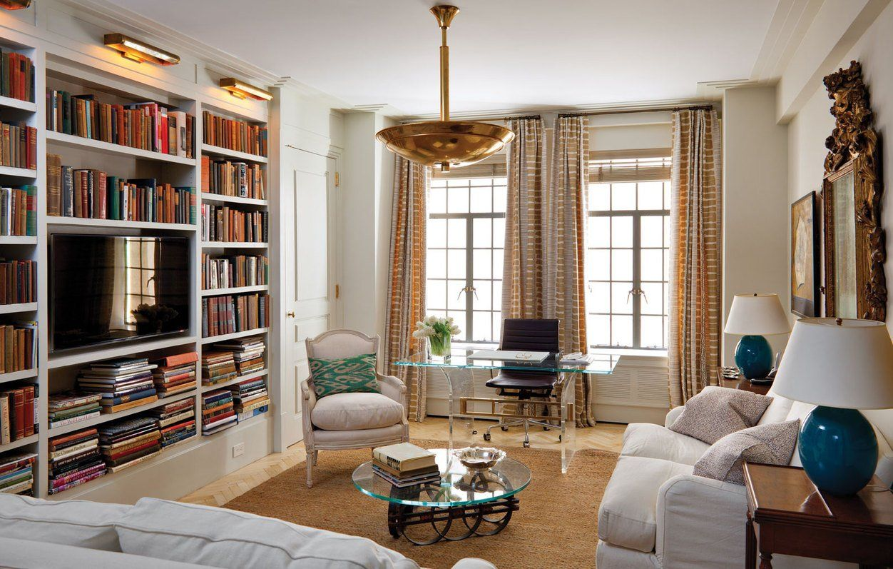 Anne Richards Loving Renovation At The El Dorado 2500 Square Foot Apartment On Upper West Side Of Manhattan Living Room Built In Bookcase And Tv