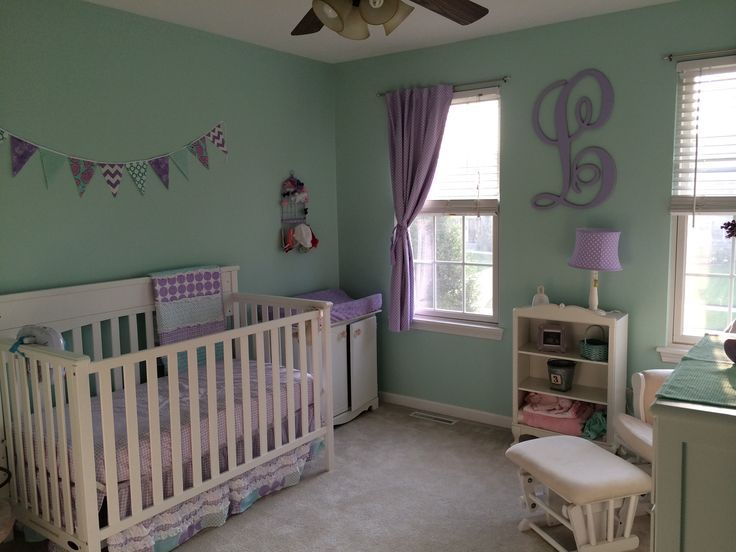 mint green and purple nursery Google Search Purple