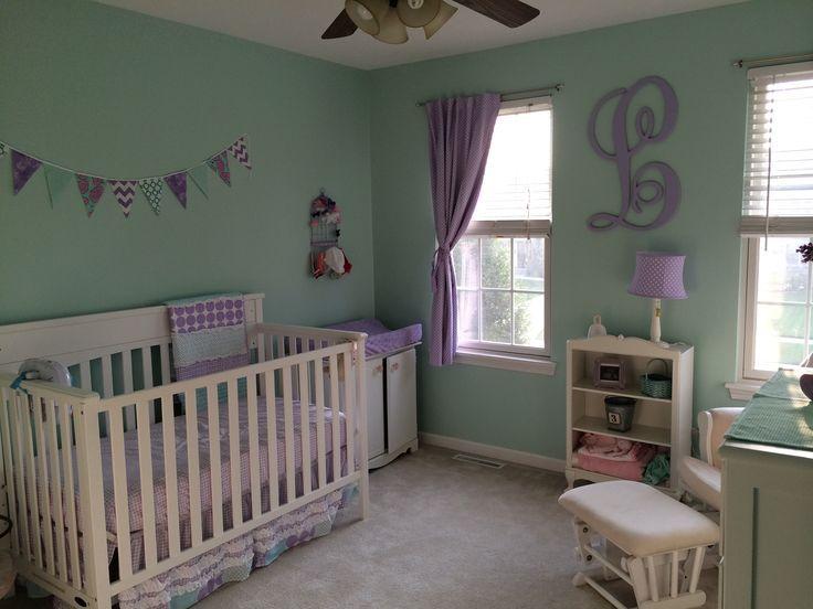 Purple   mint green. mint green and purple nursery   Google Search   Baby  2