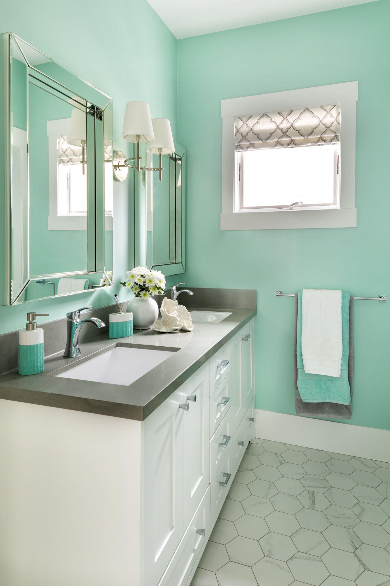 Turquoise Kids Bathroom Before After Maria Killam Turquoise Bathroom Turquoise Bathroom Decor Blue Bathroom Interior