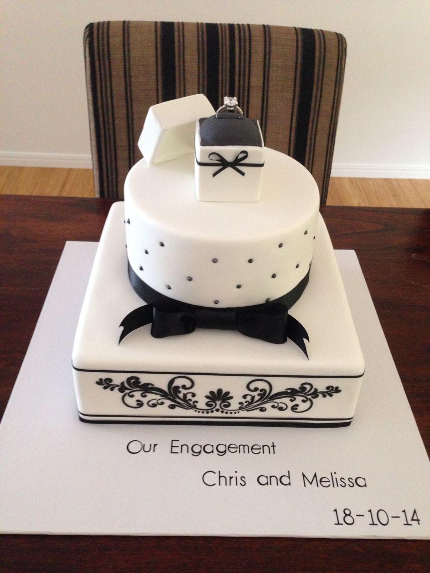 Classic Black And White Engagement Cake Engagement Cake Design