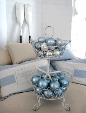 Blue Ornaments And A Sea Shell In A Wire Basket Cereusart Casual