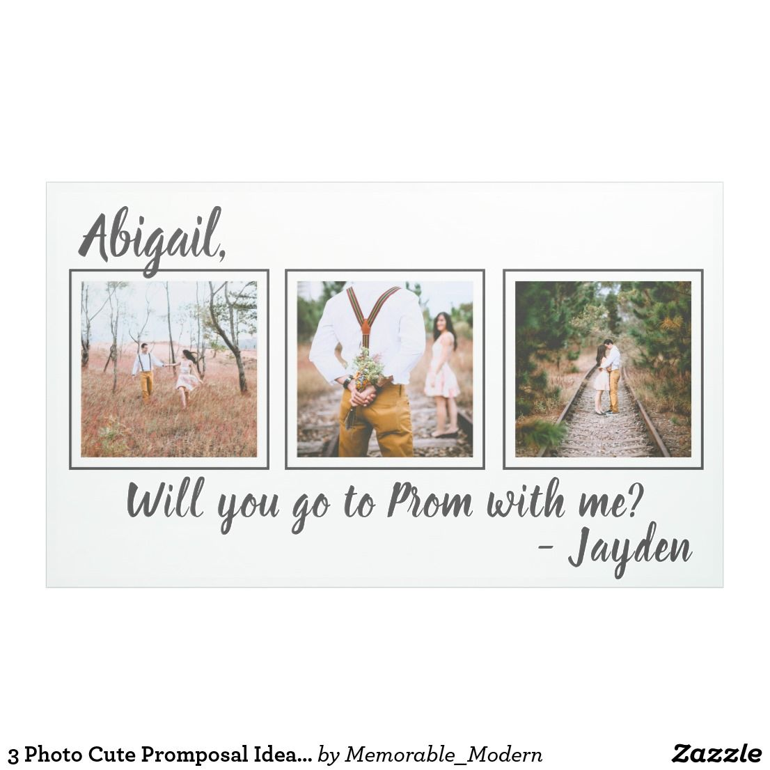 3 Photo Prom or HOCO Proposal Cute Promposal Idea Banner | Zazzle.com #promproposal