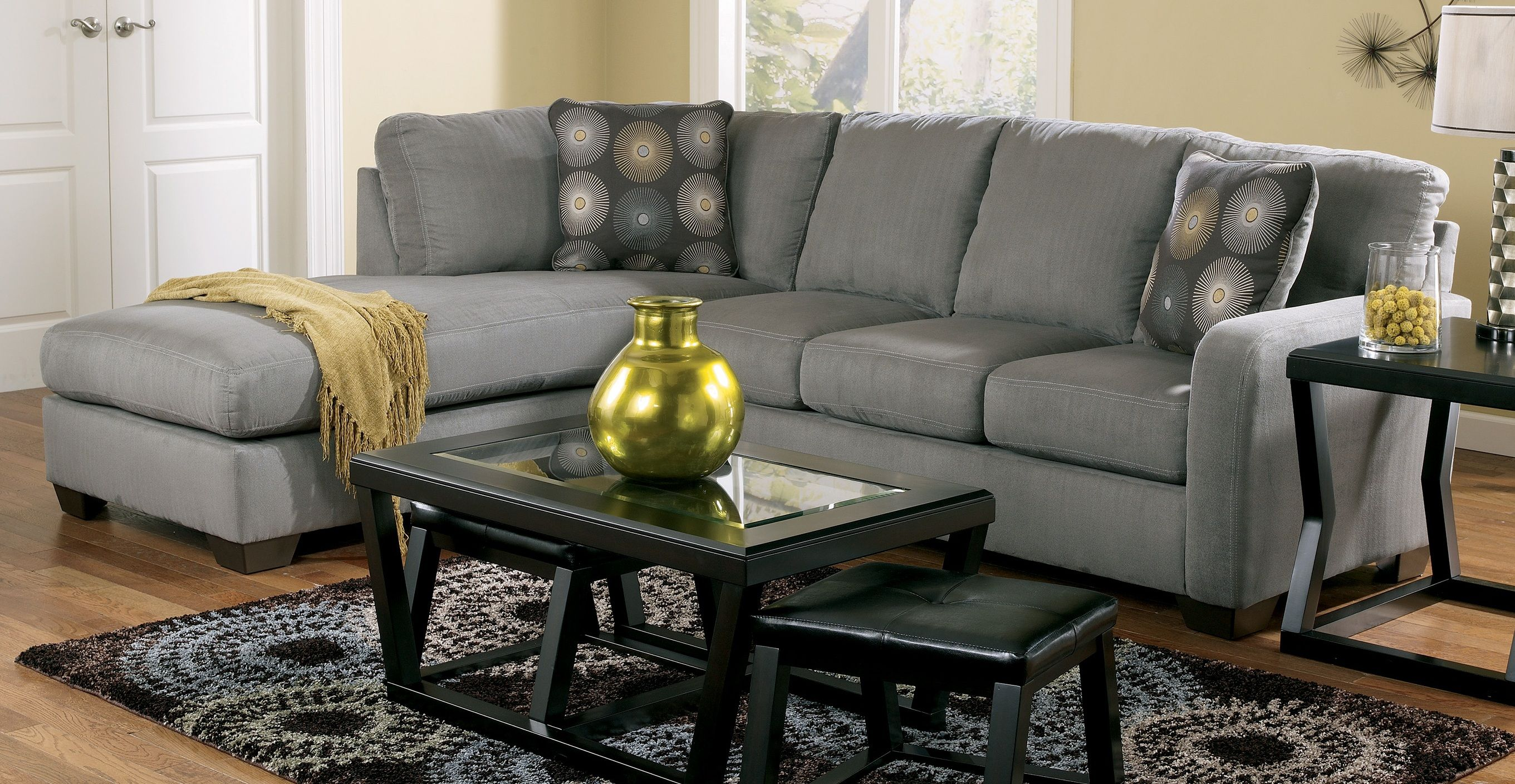 ZellaCharcoal Sectional Special Sale Price Immediate Delivey - Marjen furniture