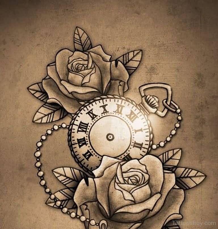 Grey Rose Flowers And Clock Tattoo Design Watch Tattoos Tattoos Rose Tattoos