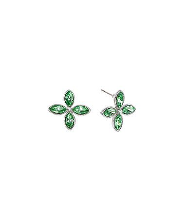 This Green Swarovski® Crystal & Silvertone Flower Stud Earrings is perfect! #zulilyfinds