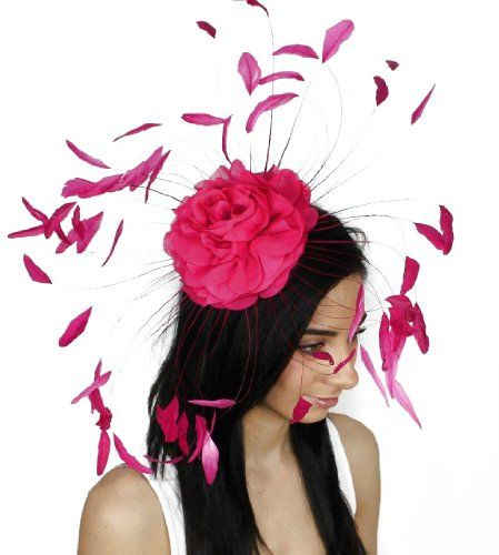 Feather and Flower Ascot Fascinator Hat With Comb - Fuchsia Hats By Cressida  2a955ff89988