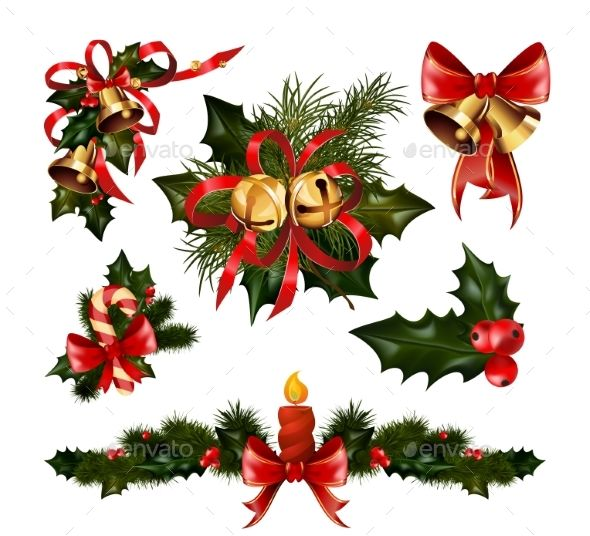 Christmas Decorations With Fir Tree And Decorative Christmas Decorations Christmas Christmas Vectors