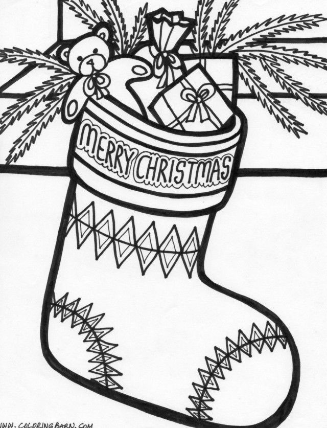 Christmas Stocking Coloring Pages | Hanging christmas ...