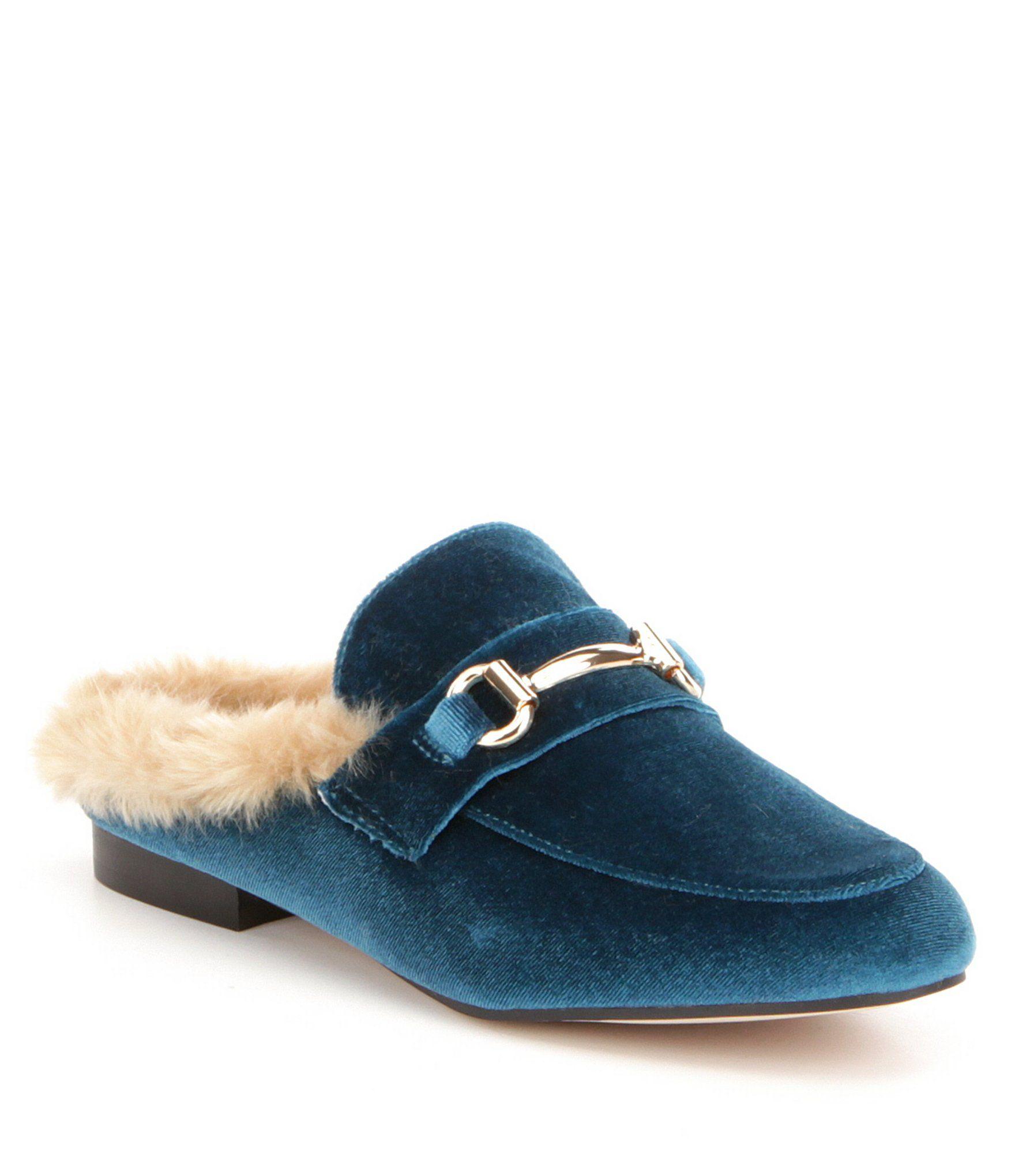 Steve Madden Jill Velvet Faux Fur Lined Slip On Dress Mules #Dillards