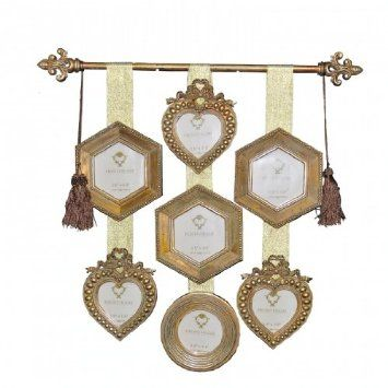 Vintage Look Shabby Chic Antique Gold Wall Hanging Multi Photo Frame: Amazon.co.uk: Kitchen & Home